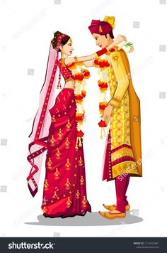 Indian bride and groom in ethnic dress lengha and serwani for wedding day. Wedding Card Design Indian, Indian Wedding Bride, Indian Bride And Groom, Hindu Bride, Wedding Couples, Indian Wedding Invitation Cards, Wedding Cards, Wedding Card Format, Wedding Couple Cartoon