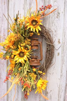 Sunflower Lantern Wreath Sunflower Wreath Harvest Wreath Fall Ideas Of Diy Sunflower Wreath Double Door Wreaths, Autumn Wreaths For Front Door, Fall Door, Fall Wreaths, How To Make Wreaths, Country Wreaths, Diy Wreath, Grapevine Wreath, Wreath Ideas