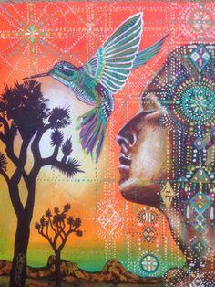 Humming Bird Earth Goddess Joshua Tree sacred by MariposaGalactica - Isabel Bryna Native Art, Native American Art, Art Visionnaire, Arte Indie, Art Beat, Goddess Art, Earth Goddess, Spirited Art, Wow Art