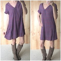 1HR SALE⚡️Adorable Patterned V-Neck Popover Dress Brand new without tags.  Purchased this dress for a photo shoot and never ended up using it. Adorable patterned shirt dress with v-neck. Lightweight and perfect with boots or booties in the summer! Festival style look. True to size. Dresses Mini