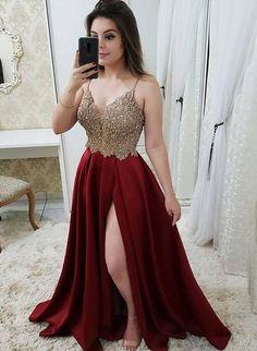 Burgundy v neck beaded long prom dress, burgundy evening dress