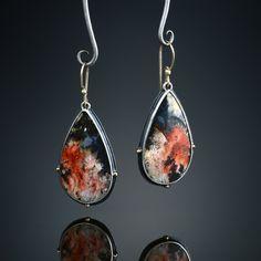 Regency Rose Plume Agate Earrings. Fabricated Sterling Silver, 18k and 14k.  Amy Buettner - Turner