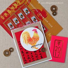 Hero Arts Layering card - Chinese New Year of the Rooster Chinese New Year Card, Hero Arts Cards, Before And After Diy, Snowflake Cards, Good Luck To You, Red Envelope, Winter Cards, Colorful Decor, Diy Cards