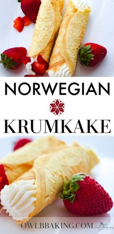 Krumkake (pronounced kroom-kah-kay) is a traditional Norwegian waffle cookie, similar to the Italian Pizzelle but much thinner and crisp. This Norwegian Krumkake Recipe is traditionally served with whipped cream & berries. Italian Cookie Recipes, Swedish Recipes, Sweet Recipes, Snack Recipes, Dessert Recipes, Norwegian Recipes, Snacks, Norwegian Waffles, Norwegian Cuisine