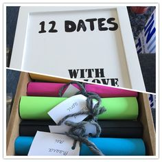 Elke maand een date voor een jaar lang! Gestopt in een doosje! Cadeau voor mijn vriend. Scaffolding Wood, Locket Necklace, Dates, Diy And Crafts, Boyfriend, Gift Wrapping, Gift Ideas, My Love, Box