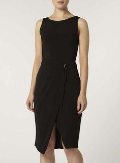 black d ring wrap dress - Dorothy Perkins