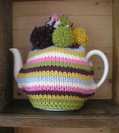 Laughing Hens St John's Ambulance Tea Cosy Pattern, Stripey Tea Cozy - Large Size For Cups Knitting Patterns Uk, Tea Cosy Knitting Pattern, Tea Cosy Pattern, Free Pattern, Knitting Books, Free Knitting, Knitting Projects, Mug Cozy, Crafts