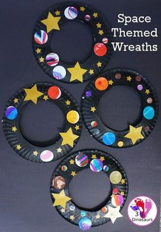 In A Fun Space Theme Wreath you make a paper plate wreath .-In A Fun Space Theme Wreath machst du einen Pappteller-Kranz mit einem … – In A Fun Space Theme Wreath you make a paper plate wreath with a … – - Kids Crafts, Toddler Crafts, Preschool Crafts, Themes For Preschool, Paper Plate Crafts For Kids, Crafts For Children, Paper Craft, Daycare Themes, Art And Craft