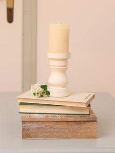 Vintage Kerzenständer - Holz Kerzenständer gedrechselt weiß - ein Designerstück von Dekoelement bei DaWanda