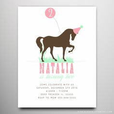 Pony party invitations edit and download with templett cowgirl horse birthday invitation i love horses stopboris Image collections