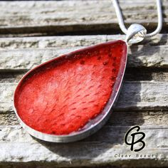 Strawberry Teardrop Shape Pendant Real Fruit S8 by ClearBeauty, £16.50