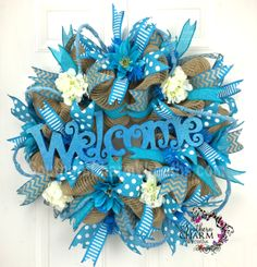 Deco Mesh Burlap Spring Wreath - Turquoise - Spring Welcome Wreath by www.southerncharmwreaths.com #burlap #spring #turquoise #hobbylobby