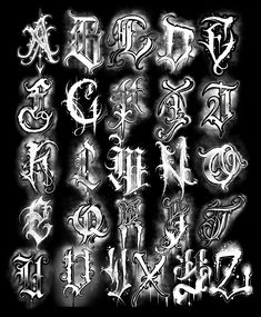 Lettering alphabet by Painless - - Chicano Tattoos Lettering, Tattoo Lettering Alphabet, Tattoo Lettering Design, Tattoo Fonts Cursive, Graffiti Lettering Fonts, Graffiti Alphabet, Chicano Style Tattoo, Alphabet Police, Lettrage Chicano