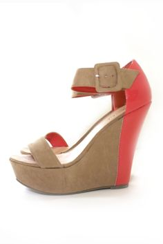 Color-Block Platform Wedge Sandals