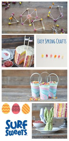 Easy spring crafts for kids and parties. Easter tablescape, Easter cake, easter napkin fold, kids crafts for Easter