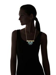 Yochi Blue Spiky Agate Bar Necklace