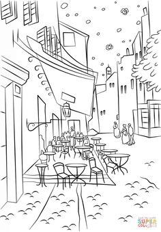 Terraza de Café por la Noche de Vincent Van Gogh Dibujo para colorear. Categorías: Vincent Van Gogh. Páginas para imprimir y colorear gratis de una gran variedad de temas, que puedes imprimir y colorear.