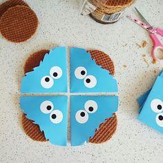 Traktatie kinderen | verjaardag | uitdelen | kids | kindertaktatie | stroopwafel | koek. | cookie | koekiemonster | cookiemonster | trakteren | traktatie | sesamstraat | sesamestreet Makkelijk, met printpatroon van www.traktatie-maken.nl