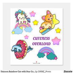 Unicorn Rainbow Cat with Star Corgi and Dolphin Sticker #Onmeprints #Zazzle #Zazzlemade #Zazzlestore #Zazzlestyle #Unicorn #Rainbow #Cat #Star #Corgi #Dolphin #Sticker Design Your Own Stickers, Custom Stickers, Fluffy Corgi, Unicorn Cat, Cute Corgi, Cat Colors, School Fun, Cute Designs, Dolphins