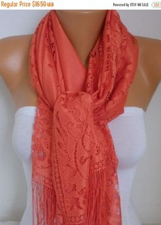 Coral Tulle Scarf Fall Summer Scarf Cowl Lace by fatwoman on Etsy