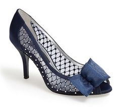 Love the lace and crystal lattice detail on this peep toe