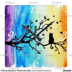 Vibrant Rainbow Watercolor Black Cat in Tree Square Wall Clock