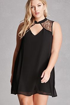Forever - A chiffon shift dress featuring a mock neck with a front hook-and-eye closure, a lace yoke, front and back diamond-shaped cutouts, and a sleeveless cut. This is an independent brand and not a Forever 21 branded item. Plus Size Dresses, Plus Size Outfits, Casual Day Dresses, Wrap Dresses, Midi Dresses, Textiles, Alternative Fashion, Plus Size Fashion, Latest Trends
