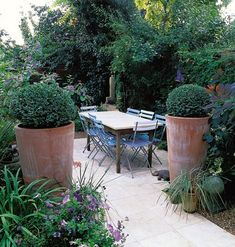 Two tall terracotta pots planted with box balls stand sentinel at the entrance to this outdoor dining room.