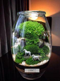 Bonsai Terrarium For Landscaping Miniature by Doodle Bird - DecOMG Terrarium Scene, Terrarium Jar, Terrarium Plants, Succulent Terrarium, Terrarium Ideas, Moss Garden, Diy Garden, Indoor Garden, Garden Projects