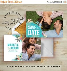 35% OFF TODAY ONLY Mint Floral Save the Date Card Template - Wedding Announcement Card Template - Floral Watercolor Psd - Photography Market