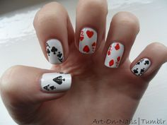 Playing Card Nails  I would love to do a card board in beads.
