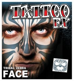 Zebra Full Face Temporary Tattoo