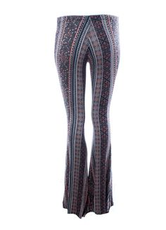 Dejavu Foulard Printed Flared Pants (Blue/Black) Flared and Flattering. The linear print in these flare bell bottoms elongates the leg and slims the thigh. Printed on this super soft knit fabric, these pants fits all shapes and sizes, while giving you the boho look. ) – DejaVu