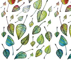 Leaves fabric by beautifullivingboutique on Spoonflower - custom fabric