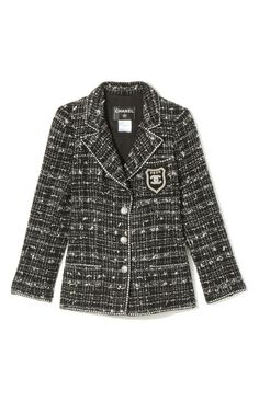 Perfection. Vintage Chanel Metallic Tweed Logo Crest Jacket