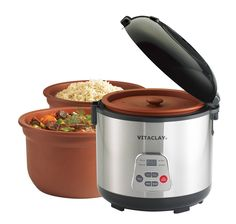 Something new in clay pot cooking. VitaClay Rice N' Slow Cooker - 6 cup. With removable clay pot and clay lid, it combines clay pot cooking with electric, programmable slow cooking. Rice Cooker, Slow Cooker, Electric Cooker, Yogurt Maker, Keep Food Warm, Multicooker, Specialty Appliances, Kitchen Appliances, Kitchen Gadgets