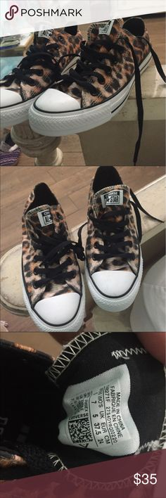 Leopard Converse Leopard Converse in great condition! Unfortunately, they're too big for me. They go with so much!! Converse Shoes Sneakers