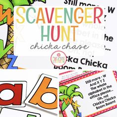 <strong>CHICKA CHASE SCAVENGER HUNT</strong>  This file includes Chicka Chicka Boom Boom Clue cards and alphabet letters that can be used on the first day of school or during the first week of school for an exciting scavenger hunt that will introduce students to their new school.   <strong>CLUE CARDS</strong> Edit the clue cards to meet the specific needs of your learning environment.  Follow the  directions on my How to Edit post for easy editing.  Add teacher names, rooms and  more to help you Alphabet Cards, Alphabet Letters, School Scavenger Hunt, Kindergarten Classroom, Classroom Ideas, Chicka Chicka Boom Boom, School Grades, Teacher Name, Preschool At Home