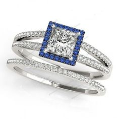 Lab Created Princess D/VVS1 Diamond 14k White Gold Plated Square Bridal Ring Set #giftjewelry22