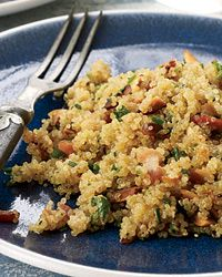 Bacon Quinoa with Almonds and Herbs -- the perfect side dish for just about anything.