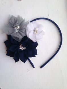 New to LaBellaRoseBoutique on Etsy: Navy Grey headband - Navy Blue Chiffon Flower white chiffon Flower silver Tulle Flower on Navy Hard Headband teen wedding flower girl women (9.00 USD)