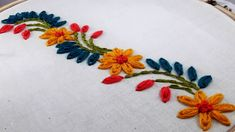 Hand Embroidery : border design by nakshi katha. : Hand Embroidery : border design by nakshi katha. Hand Embroidery Videos, Embroidery Flowers Pattern, Hand Embroidery Stitches, Embroidery Patterns Free, Embroidery Techniques, Ribbon Embroidery, Machine Embroidery, Embroidery Sampler, Hand Stitching