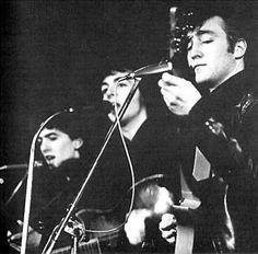 1961, April, The Beatles at the Top Ten Club, 136 Reeperbahn, St. Pauli, Hamburg, Germany.