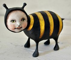 Hey, I found this really awesome Etsy listing at http://www.etsy.com/listing/157374150/bee-creature-original-hand-painted-folk