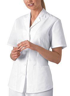 Buy Cherokee Women Two Pocket Daisy Embroidered Medical Lab Coat ...