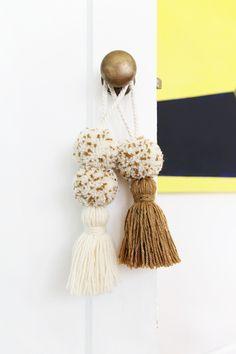 Pom-pom Door Knob Tassels in Rust and Natural // Night House Studio