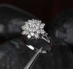 Cluster Flower .88ct H/SI Diamond Solid14K White Gold Engagement Wedding Ring- OR THIS COULD BE MY FAVOURITE