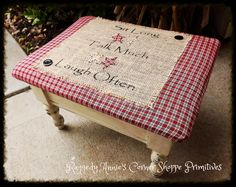 """""""Sit Long, Talk Much, Laugh Often"""" Footstool with Storage.. Homespun, Burlap, Prim Stars, Buttons. Distressed and Antiqued."""