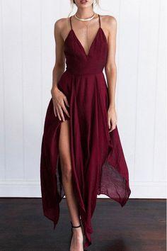 Spaghetti Strap Asymmetric Hem Sleeveless Maxi Dresses