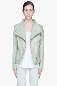 Mackage Dusty Green Tribeca Leather Jacket -  Mackage Dusty Green Tribeca Leather Jacket Mackage Long sleeve buffed leather jacket in dusty mint green. Tonal paneling throughout. Funnel collar. Off_center zip closure at front. Zippered welt pockets at front. Welt pockets at interior. Fully lined. Tonal stitching. Zippered sleeve...